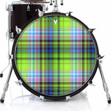 Plaid graphic drum skin on bass drum head by Visionary Drum; hipster drum art