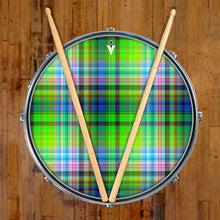 Plaid graphic drum skin on snare drum head by Visionary Drum; green drum art