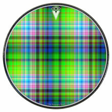 Plaid graphic drum skin installed on bass drum head by Visionary Drum; green drum art