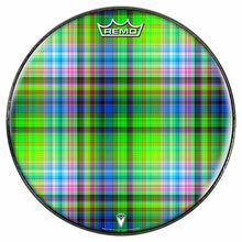 Plaid Design Remo-Made Graphic Drum Head by Visionary Drum; green drum art