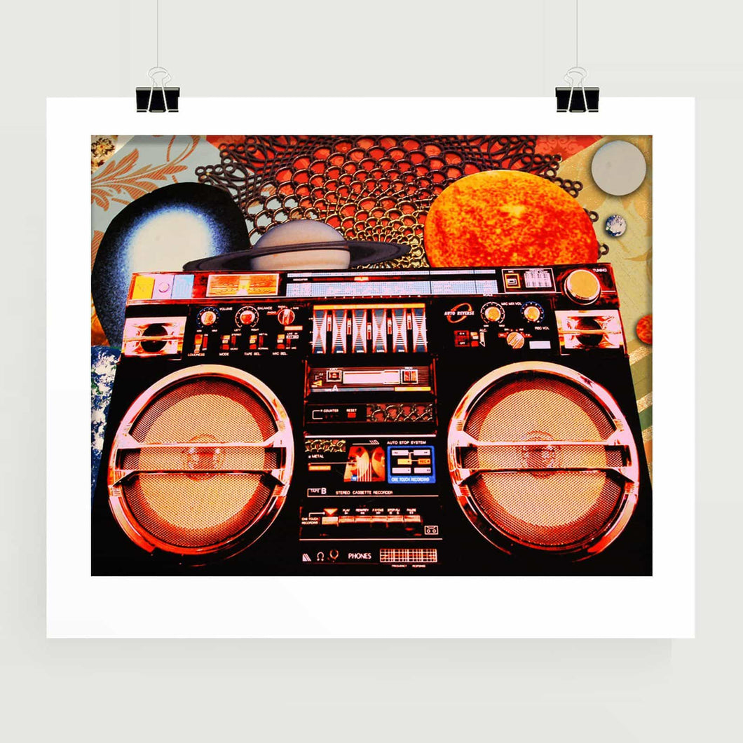 Planetary Boombox art print vintage gear for music lover audiophile