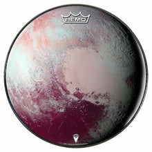 Pluto Design Remo-Made Graphic Drum Head by Visionary Drum; solar system drum art