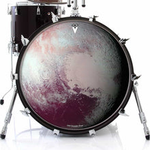 Pluto graphic drum skin on bass drum head by Visionary Drum; outer space drum art