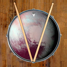 Pluto graphic drum skin on snare drum head by Visionary Drum; planet drum art