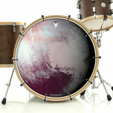 Pluto bass face drum banner installed on drum kit by Visionary Drum; aqua blue drum art