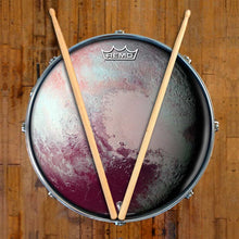 Pluto Design Remo-Made Graphic Drum Head on Snare Drum; outer space drum art