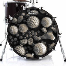 Microscopic Pollen graphic Remo drum head on bass