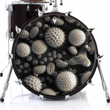 Microscopic Pollen graphic drum skin decal art on bass