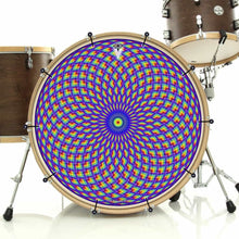 Purple Psyche Eye bass face drum banner installed on drum kit; visionary drum art