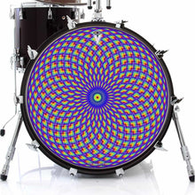 Purple Psyche Eye graphic drum skin on bass drum head by Visionary Drum; mandala drum art