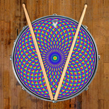 Purple Psyche Eye graphic drum skin on snare drum head; visionary drum art