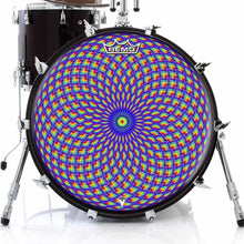 Purple Psyche Eye Design Remo-Made Graphic Drum Head on Bass Drum; purple pattern drum art