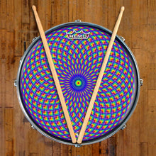 Purple Psyche Eye Design Remo-Made Graphic Drum Head on Snare Drum; psychedelic drum art