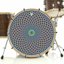 Green Psyche Eye bass face drum banner installed on drum kit; mandala drum art