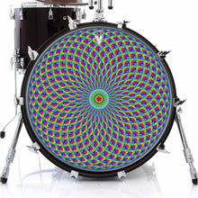 Green Psyche Eye graphic drum skin on bass drum head by Visionary Drum; infinity pattern drum art