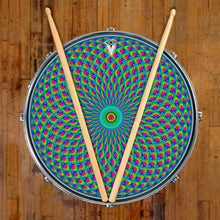 Green Psyche Eye graphic drum skin on snare drum head; spiritual drum art