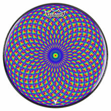 Purple Psyche Eye Design Remo-Made Graphic Drum Head by Visionary Drum; geometric drum art