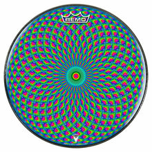 Green Psyche Eye Design Remo-Made Graphic Drum Head by Visionary Drum; spiritual drum art