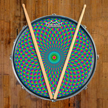 Green Psyche Eye Design Remo-Made Graphic Drum Head on Snare Drum; green pattern drum art