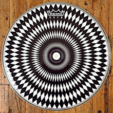 "Glossy black and white op art design 14"" Graphic Remo drum head."