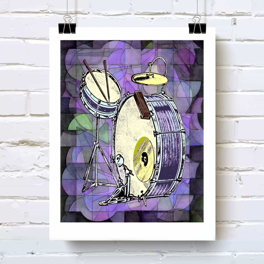 Purple drum kit art print, watercolor, ink for music lover drummer