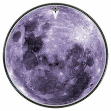 Purple Moon graphic drum skin installed on bass drum head by Visionary Drum; spiritual drum art