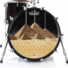 Pyramids Design Remo-Made Graphic Drum Head on Bass Drum; ancient egypt drum art