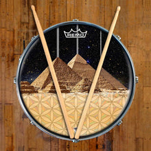 Pyramids Design Remo-Made Graphic Drum Head on Snare Drum; flower of life drum art