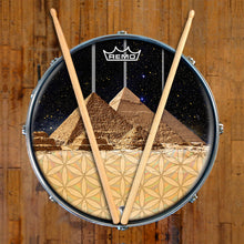 Egyptian Pyramids graphic drum head designed by Visionary Drum and made by Remo on snare drum