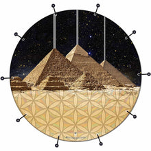 Pyramids bass face drum banner by Visionary Drum; sacred symbols drum art