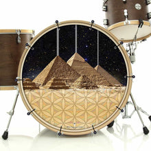 Pyramids bass face drum banner installed on bass drum; visionary drum art