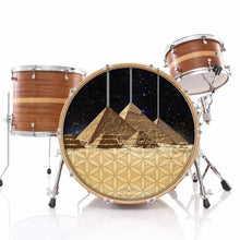 Pyramids Dahlia graphic drum skin installed on bass drum head and shown on drum kit; new age drum art
