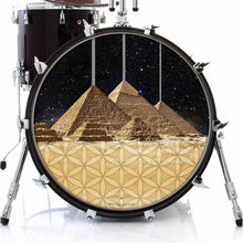 Pyramids graphic drum skin on bass drum head by Visionary Drum; seven wonders drum art