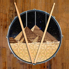 Pyramids graphic drum skin on snare drum head by Visionary Drum; sacred geometry drum art