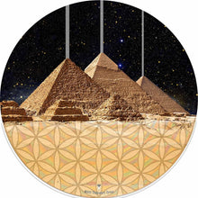 Pyramids design graphic drum skin by Visionary Drum; egyptian drum art