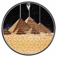 Pyramids Dahlia graphic drum skin installed on bass drum head by Visionary Drum; fantasy drum art