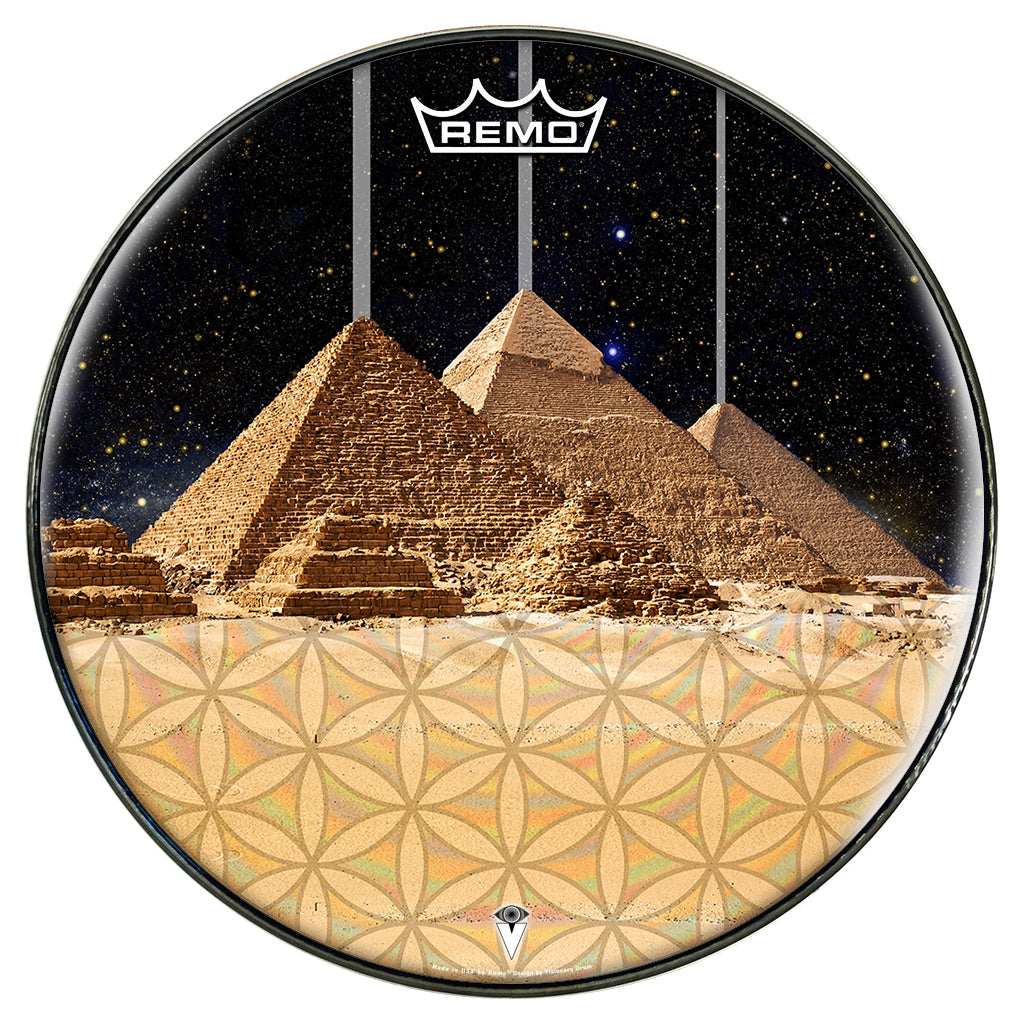 Egyptian Pyramids graphic drum head designed by Visionary Drum and made by Remo