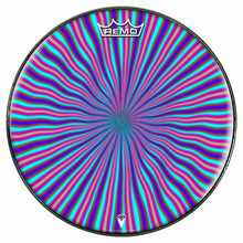 Blue Radiate Design Remo-Made Graphic Drum Head by Visionary Drum; rainbow drum art
