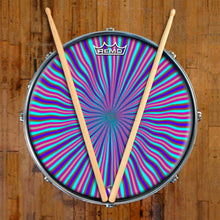 Blue Radiate Design Remo-Made Graphic Drum Head on Snare Drum; wave pattern drum art