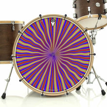 Red Radiate bass face drum banner installed on bass drum; visionary drum art