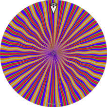 Red Radiate design graphic drum skin by Visionary Drum; psychedelic drum art