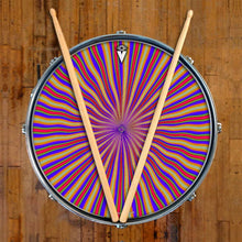 Red Radiate graphic drum skin on snare drum head by Visionary Drum; wave pattern drum art