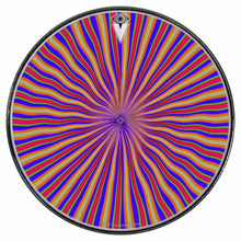 Red Radiate graphic drum skin installed on bass drum head by Visionary Drum; radial pattern drum art