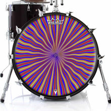 Red Radiate Design Remo-Made Graphic Drum Head on Bass Drum; mandala drum art