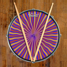 Red Radiate Design Remo-Made Graphic Drum Head on Snare Drum; psychedelic drum art