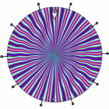 Blue Radiate bass face drum banner by Visionary Drum; blue drum art