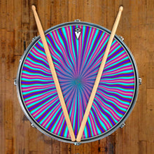 Blue Radiate graphic drum skin on snare drum head by Visionary Drum; blue drum art