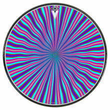 Blue Radiate graphic drum skin installed on bass drum head by Visionary Drum; circle pattern drum art