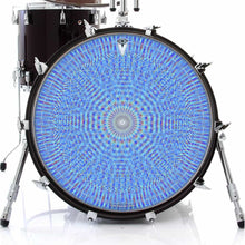 Blue Rainbow Blossom graphic drum skin on bass drum head by Visionary Drum; psychedelic drum art