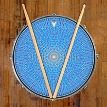 Blue Rainbow Blossom graphic drum skin on snare drum head; sacred geometry drum art